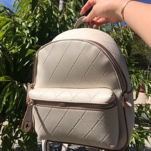 Zara Bags - Zara white faux quilted leather backpack